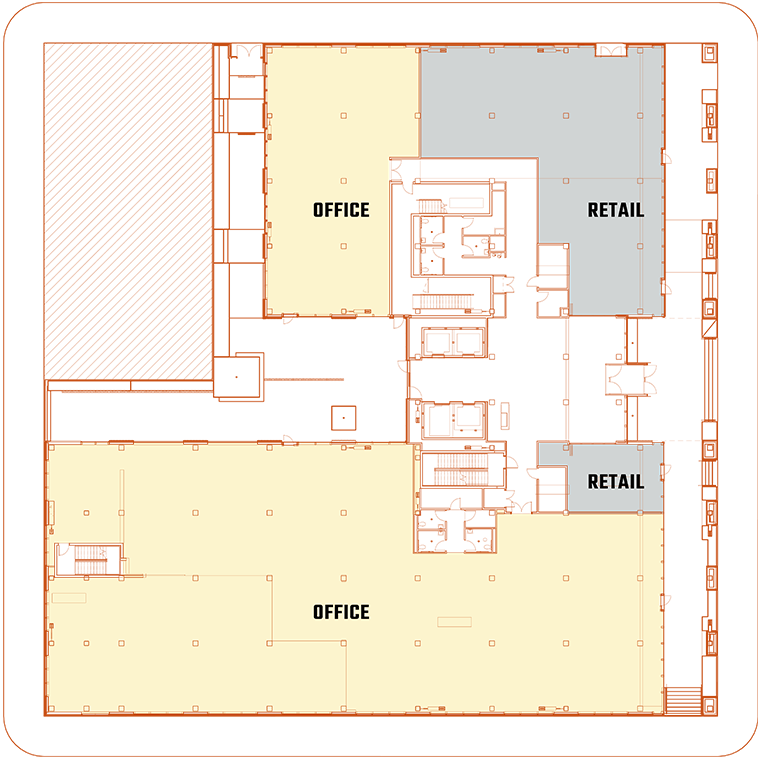 An architectural blueprint of the ground level of The 503, a commercial building in Portland, Oregon