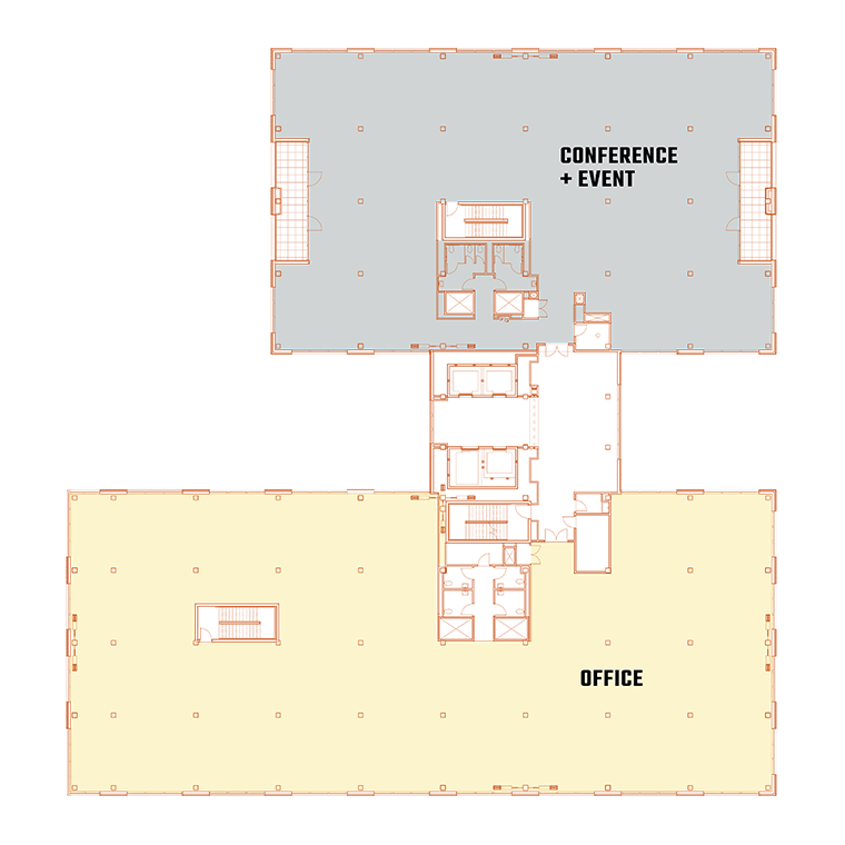 An architectural blueprint of the office and conference level of The 503, a commercial building in Portland, Oregon