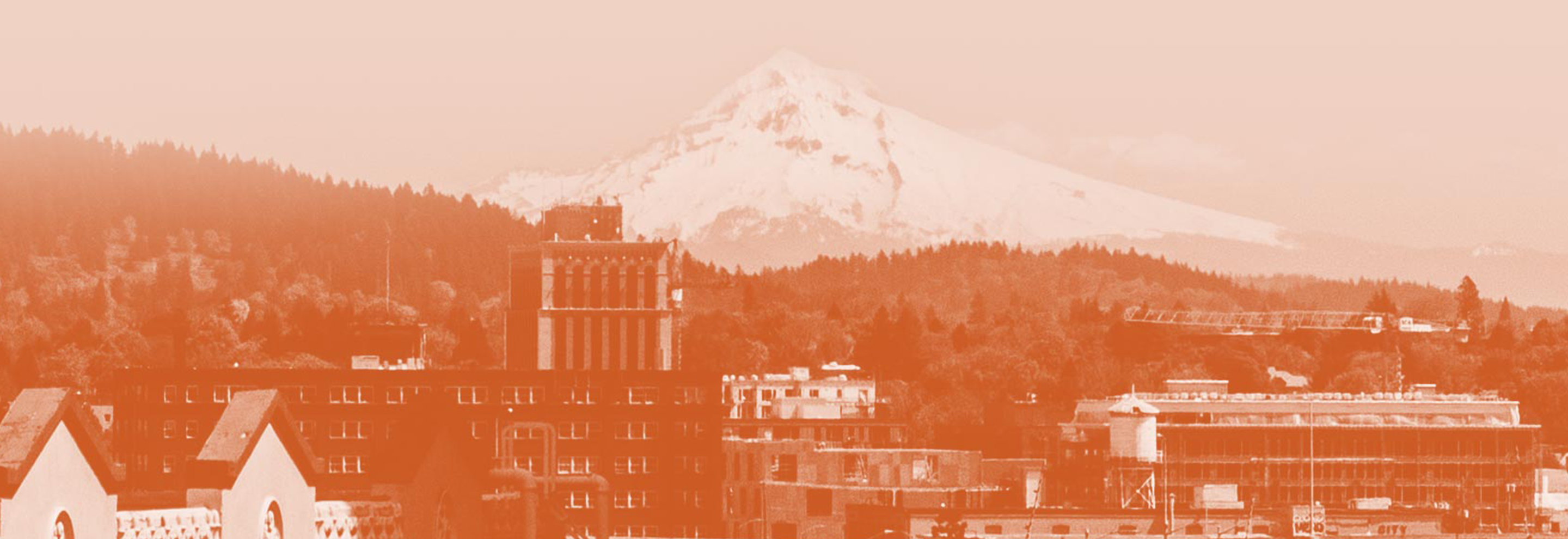 The Portland, Oregon skyline with Mount Hood in the background